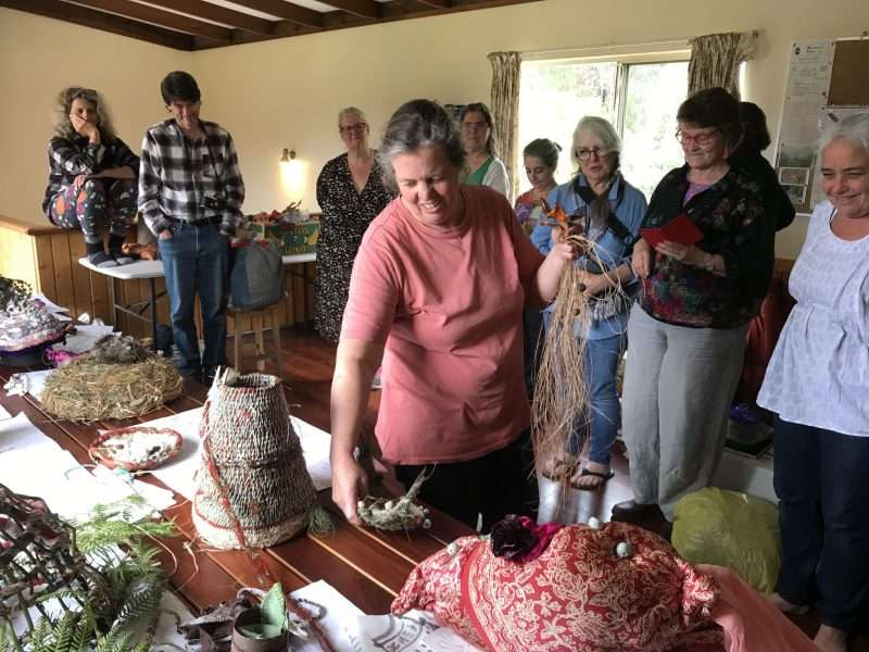 Southern-Forests-Arts-Nalda-Searles-weekend-residential-workshop-2020-with-Annette-Nykiel-presenting-her-work-to-diverse_participants