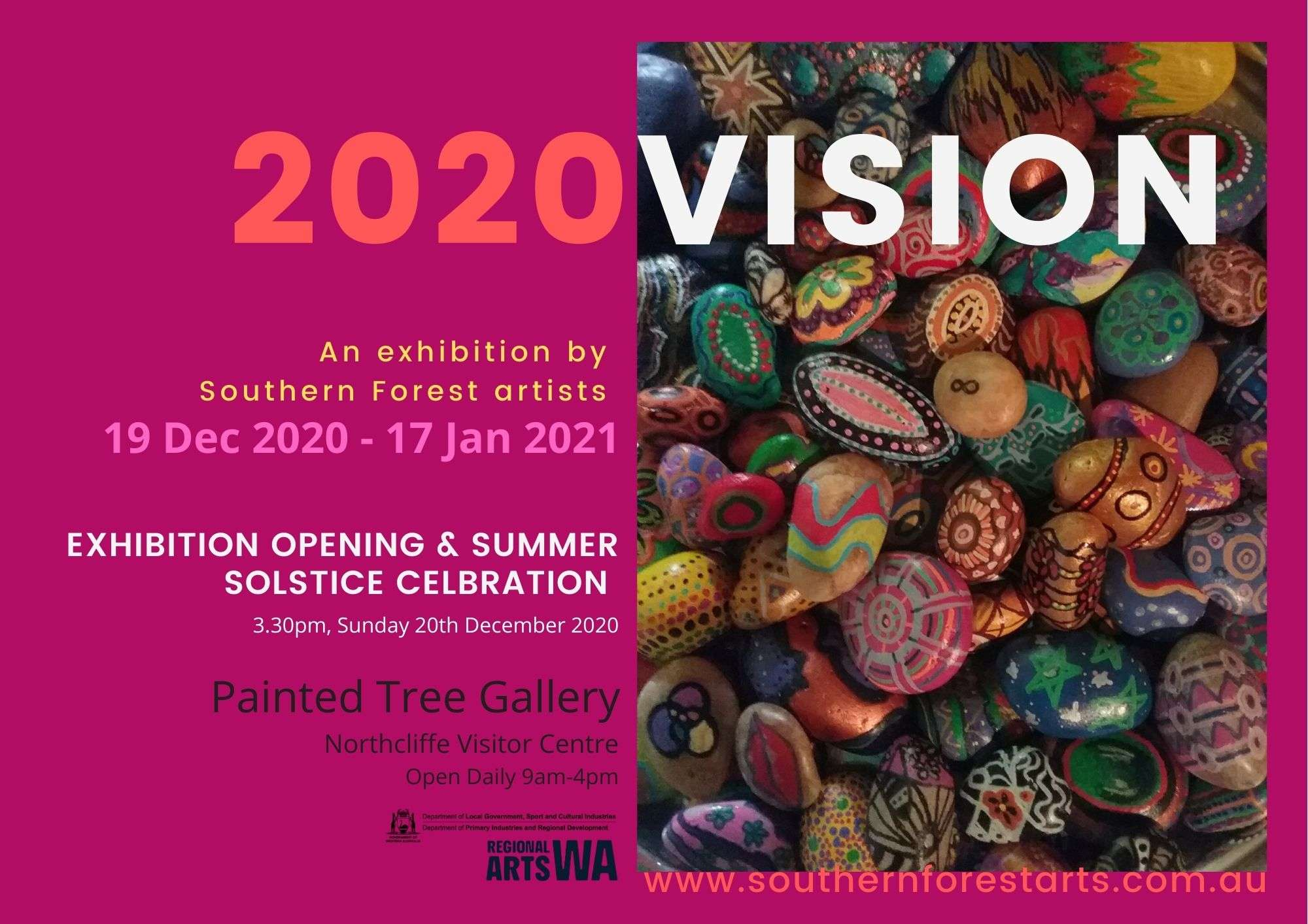 2020VISION poster for the painted Tree gallery December 2020 - January 2021 curated by Rae Starr featuring artists from the Southern Forests region