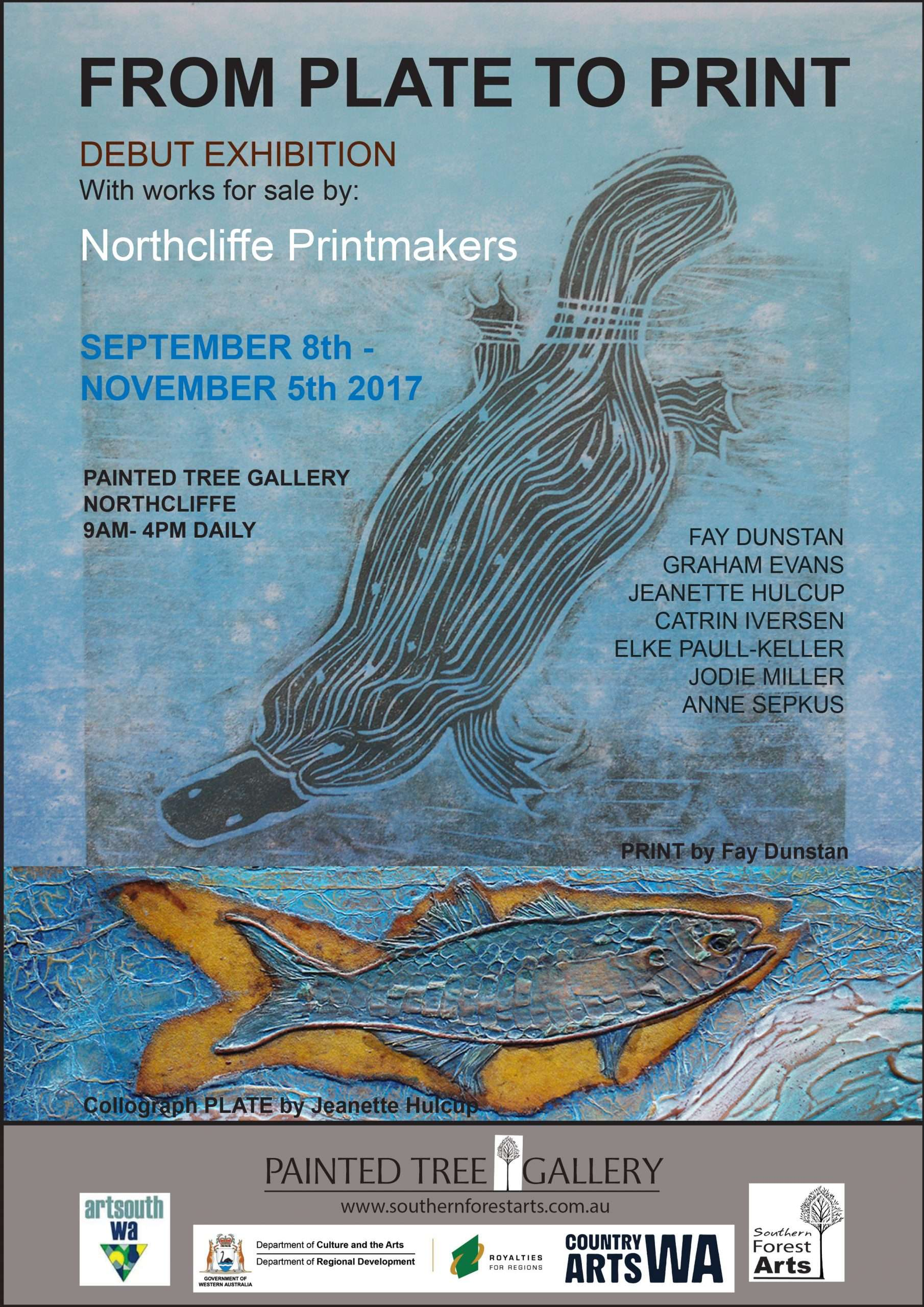 From Print to Plate exhibition poster for the Painted Tree Gallery Northcliffe, hosted by Southern Forest Arts