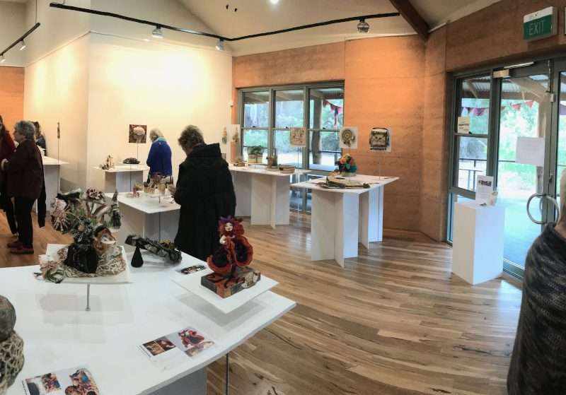 Exhibition opening for WAFTA (Western Australian Fibre & Textiles Association) touring exhibition, 'Sltered States' presented at the Painted Tree Gallery in Northcliffe, 2018