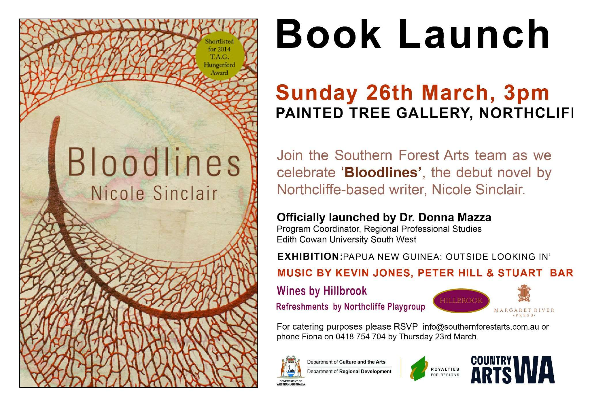 Bloodlines Book Launch at the painted Tree Gallery (Northcliffe) by Nic Sinclair 2015 presented by Southern Forest Arts