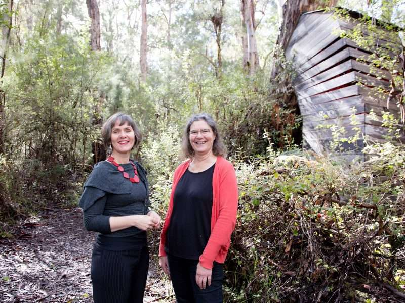 Fiona Sinclair and Anne Sepkus - Southern Forest Arts committee members in 2019, walking along the Understory Art & Nature Trail in Northcliffe