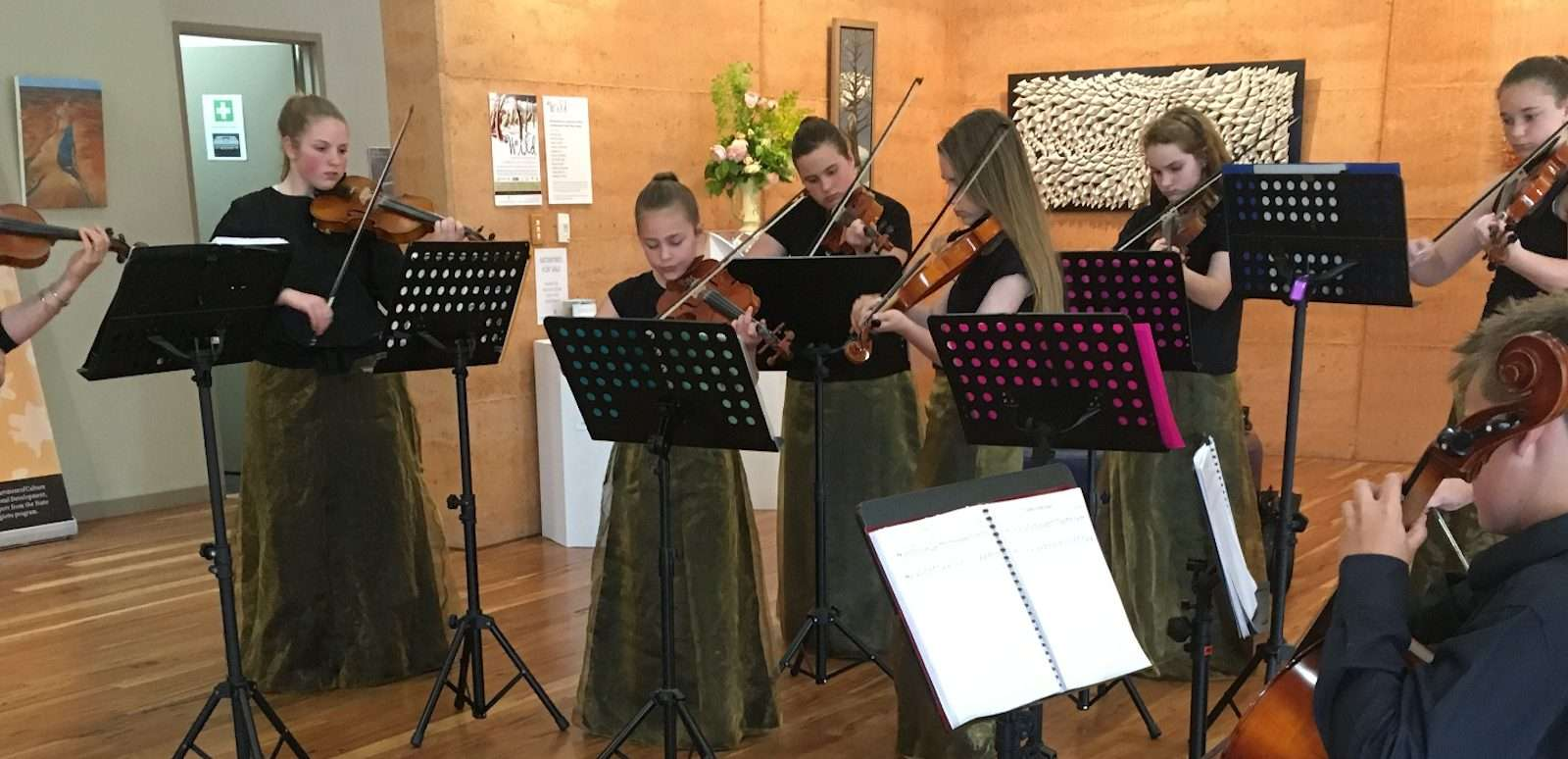 The 'Highly Strung' ensemble (a local youth ensemble) perform in the painted Tree Gallery as part of Southern Forest Art's Sct-Belong-Commit 2016 festival program