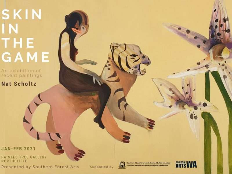 Skin in the Game - exhibition image by Nat Scholtz, Exhibition held at the painted Tree gallery in Northcliffe Jan-Feb 2021, presented by Southern Forest Arts