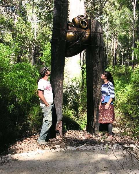 Alex and Nic Mickle in front of their artwork ' Bound' on the Understory Art & Nature Trail in Northcliffe 2006 - Southern Forest Arts
