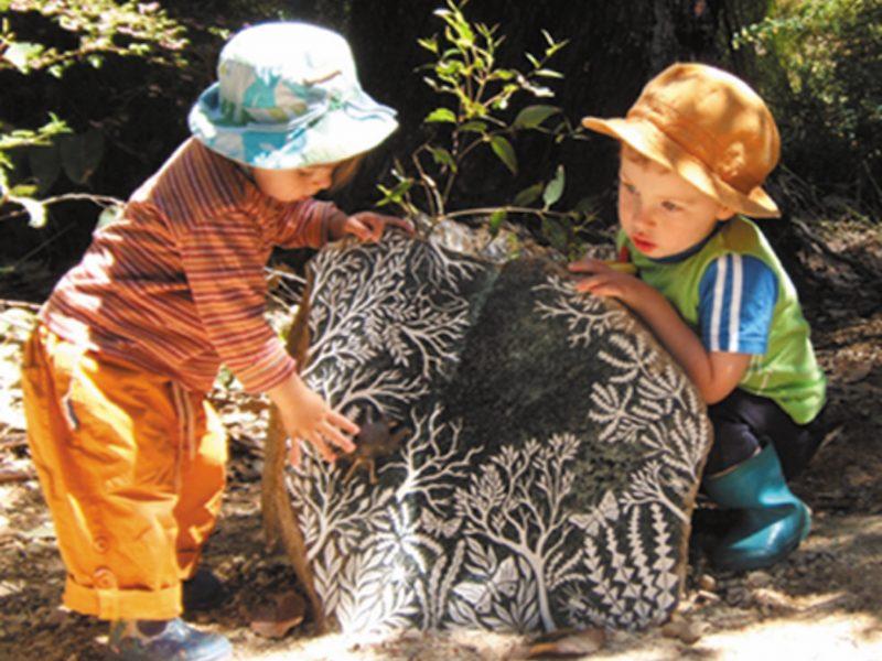 Children enjoying Forest Stones sculptures and stories, Understory Art & Nature trail, Northcliffe