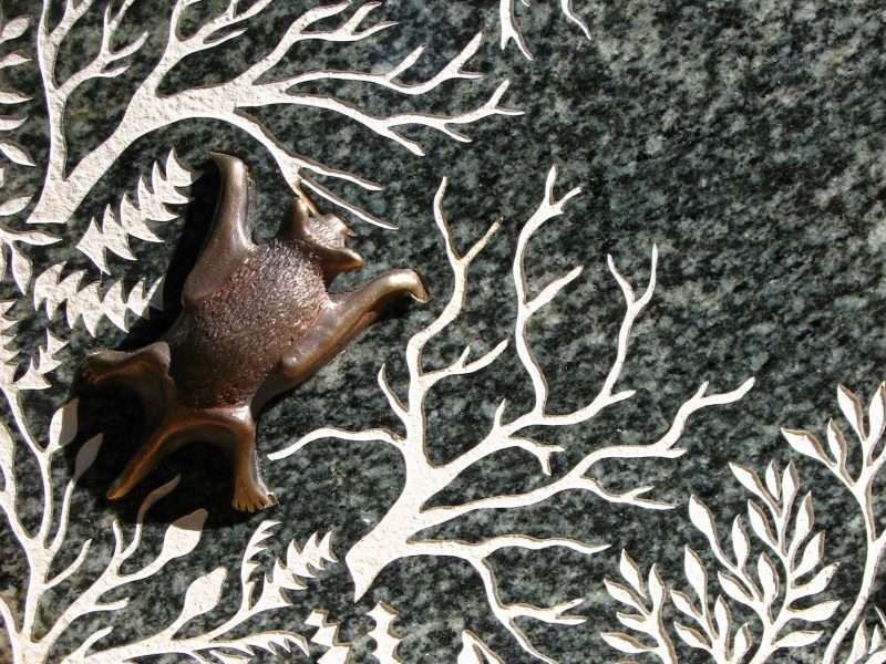 'Forest Stones - Bat Nook' detail of bronze by Kati Thamo, Understory Art & Nature Trail, Northcliffe, Photo by Kati Thamo
