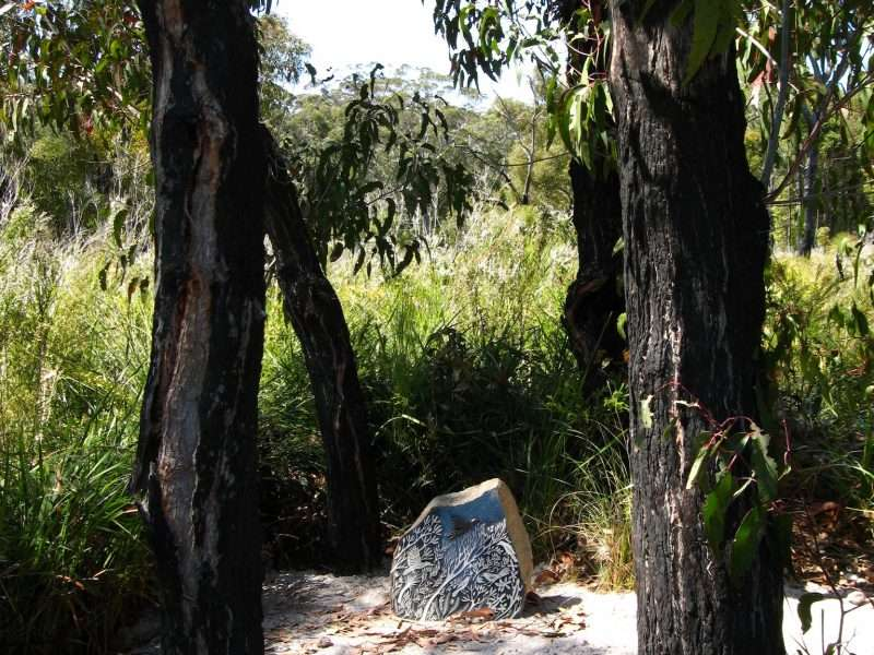 'Forest Stones - Bird Nook' (3) by Kati Thamo, Understory Art & Nature Trail, Northcliffe, commissioned by Southern Forest Arts in 2006, Photo by Kati Thamo