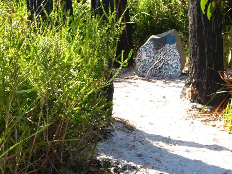 'Forest Stones - Bird Nook' (4) by Kati Thamo, Understory Art & Nature Trail, Northcliffe, commissioned by Southern Forest Arts in 2006, Photo by Bo Wong (2020)