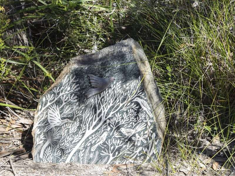 'Forest Stones - Bird Nook' by Kati Thamo, Understory Art & Nature Trail, Northcliffe, commissioned by Southern Forest Arts in 2006, Photo by Bo Wong (2020)
