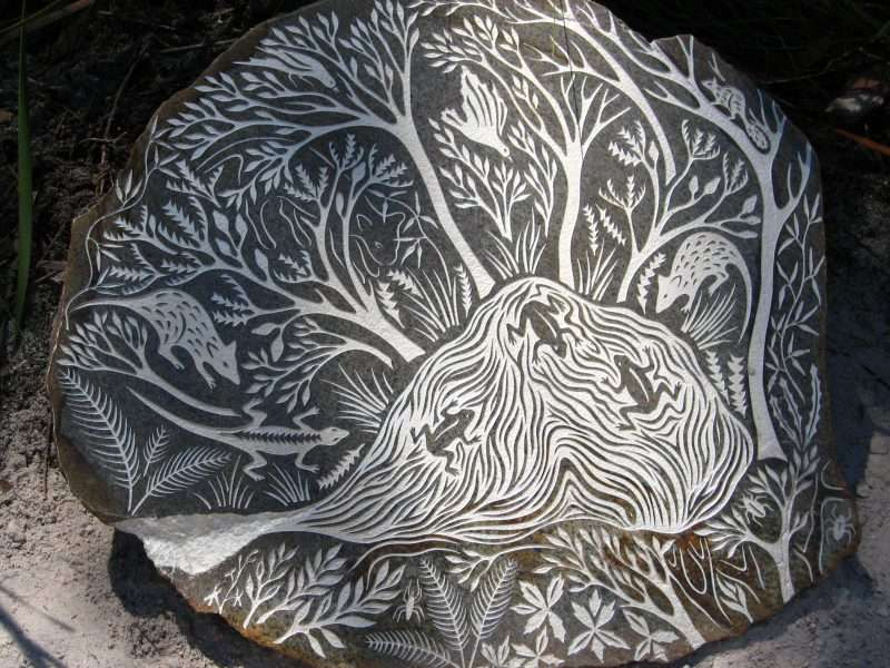 'Forest Stones - Cat Nook' by Kati Thamo, Understory Art & Nature Trail, Northcliffe, Photo by Kati Thamo