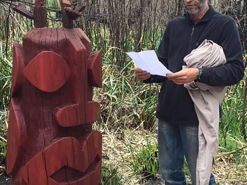 Matt Belto reading poem at his sculpture launch