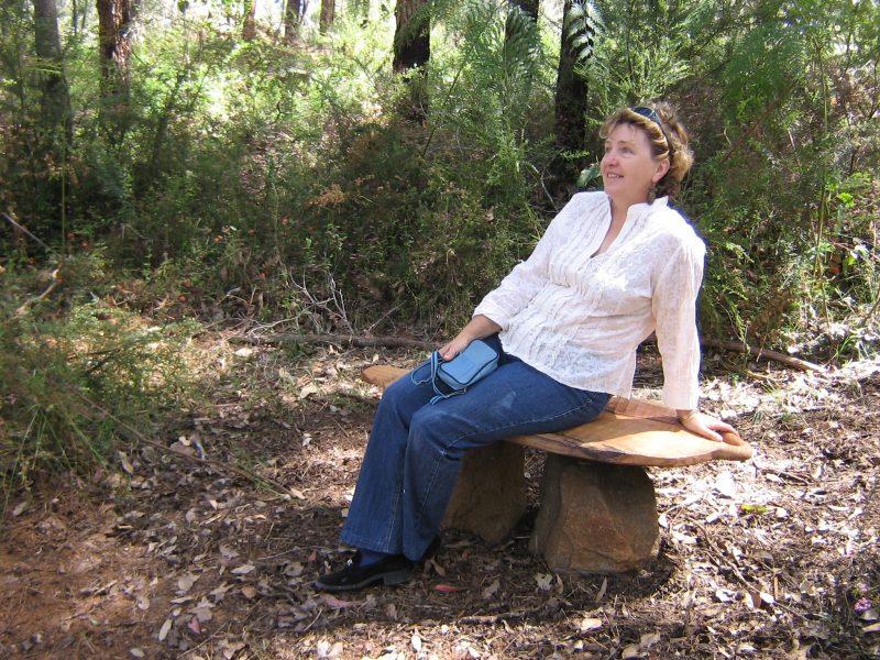 Meg on Warwick's seat - Understory Art & Nature Trail, Northcliffe