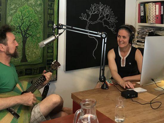 Peter and Fiona recording the pilot Mycelium podcast