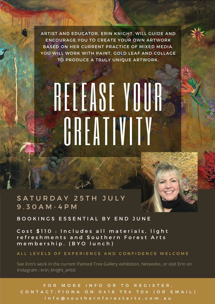Release your creativity workshop by Erin Knight, Northcliffe, Southern Forest Arts 2020