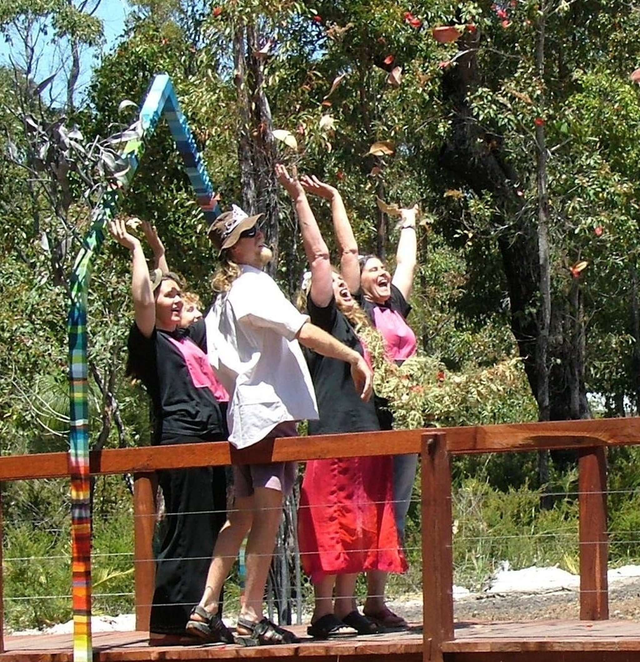 Southern Forest Arts committee jubilant at Understory trailhead upon official opening in Nov 2006, Northcliffe, Western Australia