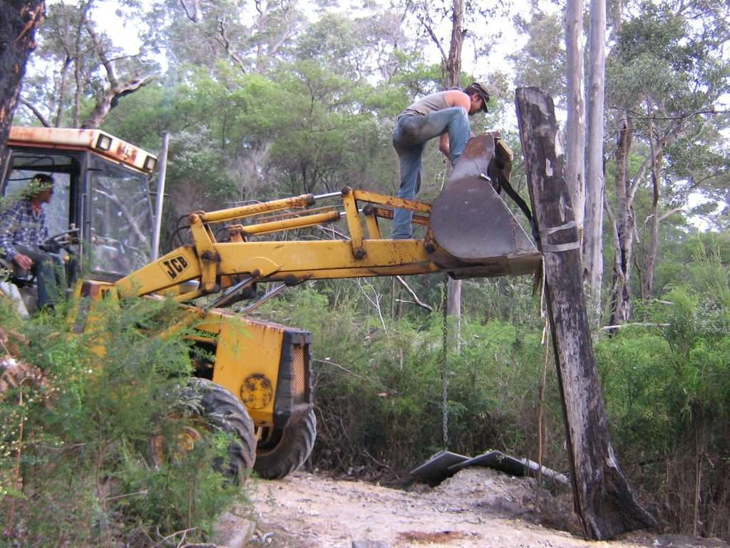 Installing Alex and Nic Mickle artwork ' Bound' on the understory Art & Nature Trail in Northcliffe 2006 - Southern Forest Arts