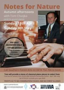 Pianist, Tom Chvojka, will give to house concerts in Quinninup this Autumn, presented by Southern Forest Arts