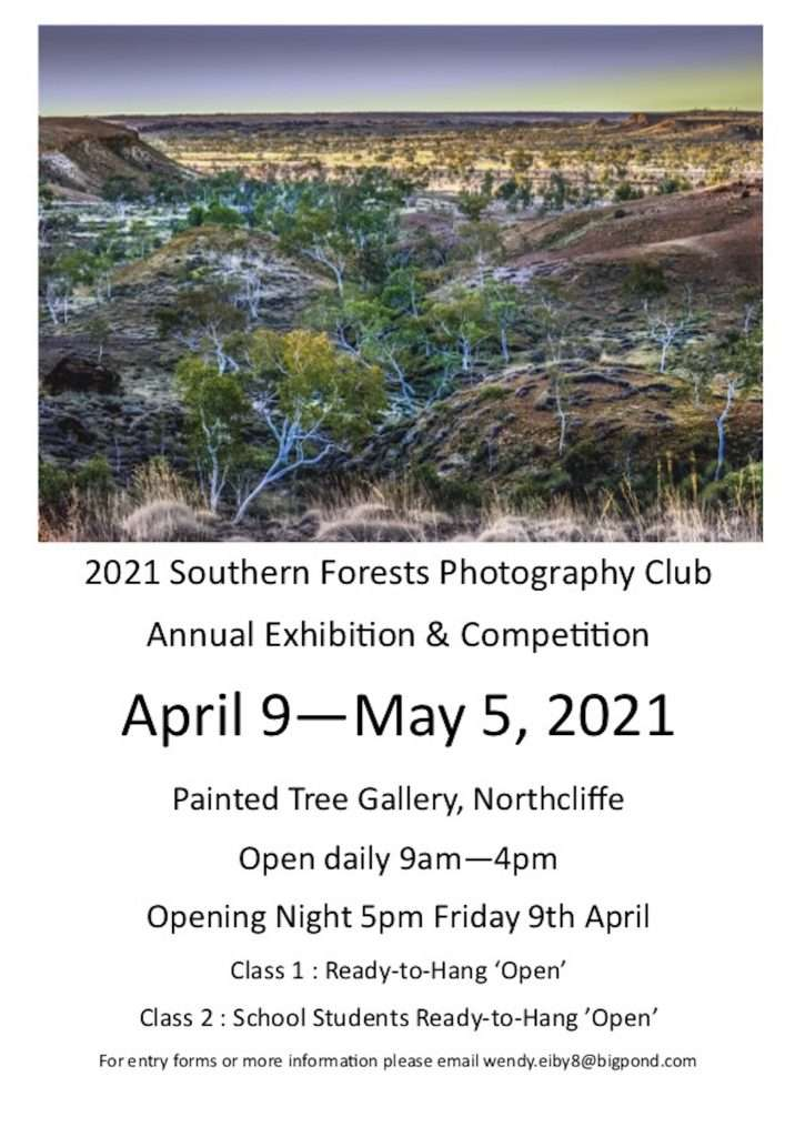 Southern Forests Photography Club annual competition and exhibition - Painted tree gallery, Northcliffe