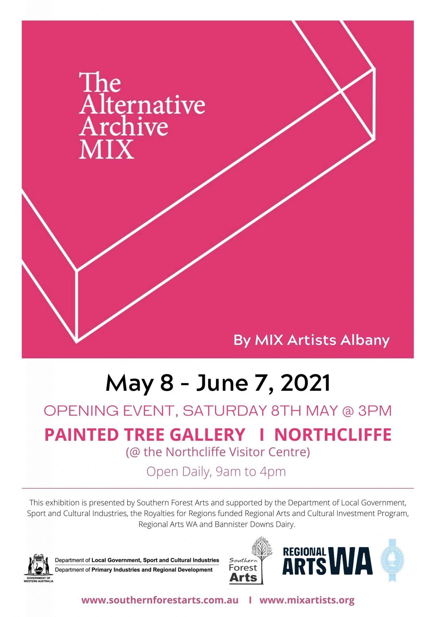 The Alternative Archive - Mix poster for exhibition at The Painted Tree gallery, Northcliffe, 2021