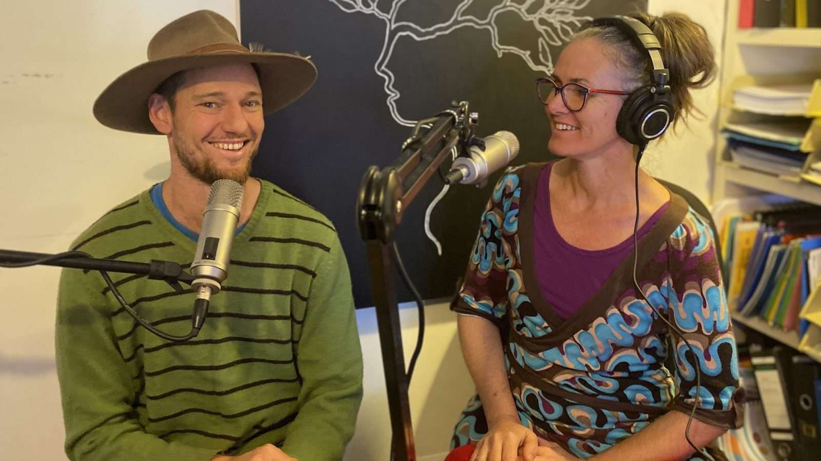 Charlie MGee and Fiona Sinclair recording Creative Mycelium podcast episode