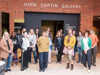 Curator PD group shot The Alternative Archive at John Curtin gallery- Ingrid in front