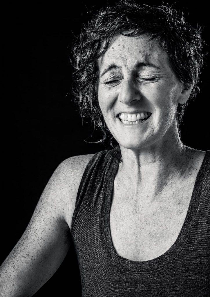 Sari Bennett laughing (B&W) Platypus blog for the Mycelium project, Creative Grid