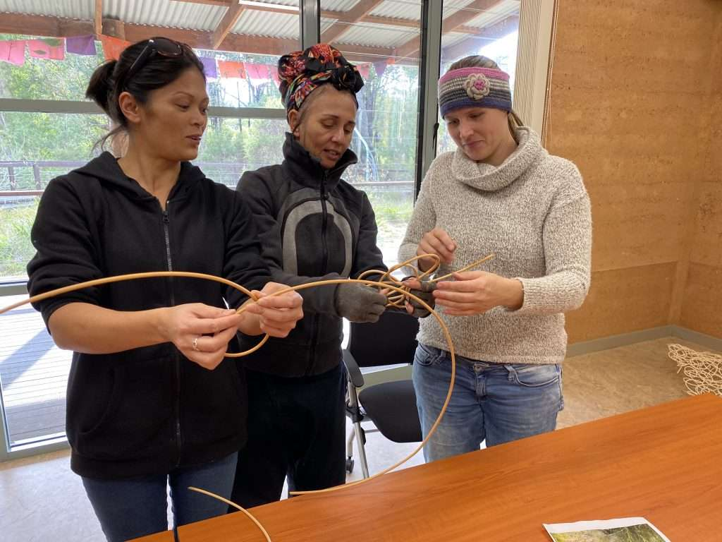Workshop participants learn torandom weave with cane with artist Fiona Gavino, Northcliffe, Southern Forest Arts