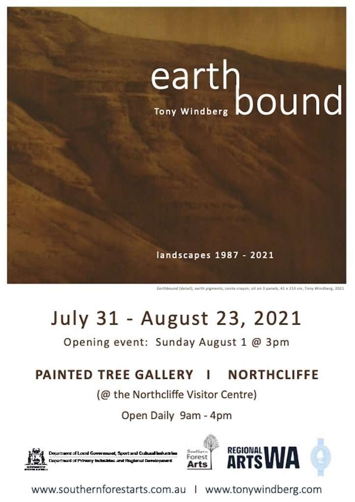 Earthbound exhibition flyer (Tony Windberg) Painted Tree Gallery, Southern Forest Arts 2021