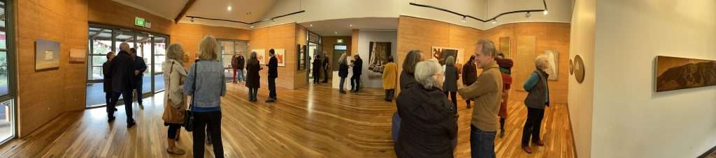 (Pano gallery view) Tony Windberg - Earthbound exhibition opening