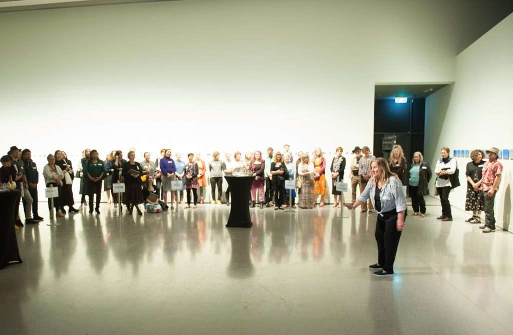 Claudette Mountjoy performing atJohn Curton Gallery for the preview of The Alternative Archive