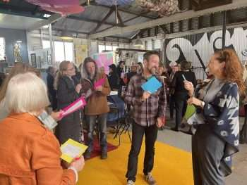 Networking bingo at the Winter Warmer for the Southern Forests & Valleys arts hub