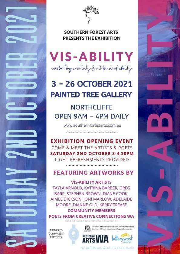 Vis-Ability Exhibition Painted Tree Gallery Northcliffe 2021